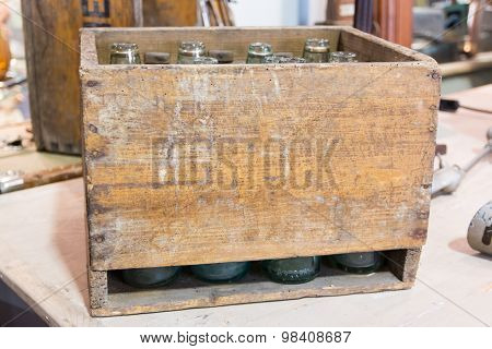 Empty Bottles In Vintage Wodden Crate