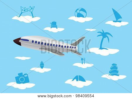 Flying Airplane With Vacation Icons On Clouds Vector Illustration