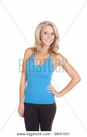 Blue Top Smiling Standing
