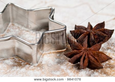 Star-shaped And Star Anise In The Flour V2