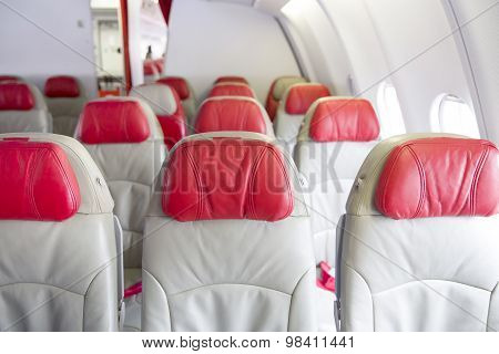 Interior of the passenger seats in the airplane