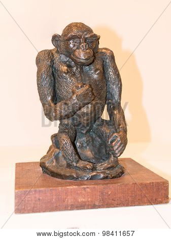 Small Bronze Statuette Monkey Chimpanzee