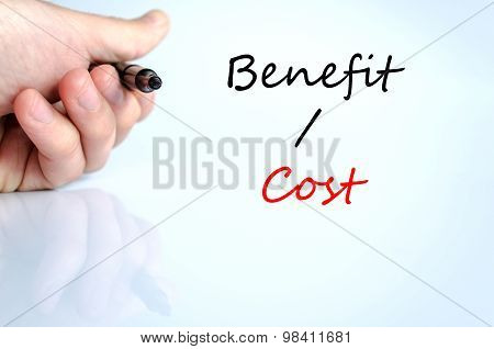 Benefits Cost Text Concept