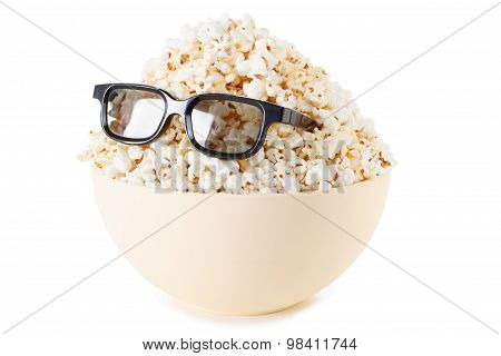 Smiling Monster Of Popcorn, Glasses. Isolated On White