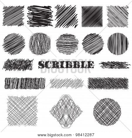 vector set of scribble brushes. Collection of ink lines, set of hand drawn textures, scribbles of pe