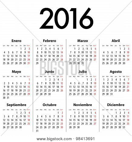 Spanish Calendar For 2016. Mondays First
