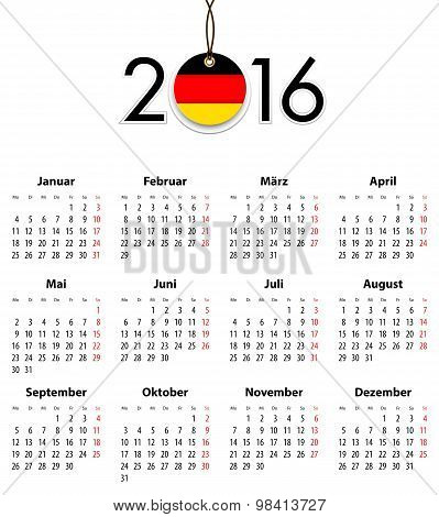 German Solid Calendar For 2016 With Flag Like Tag