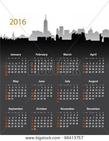 2016 Year Stylish Calendar On Cityscape Background