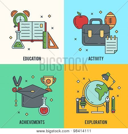 School Banners With Thin Lined Education Icons