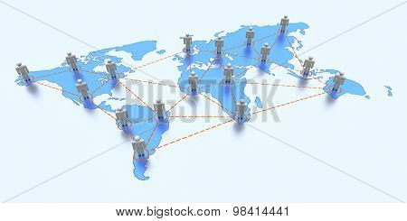 World map with global communication