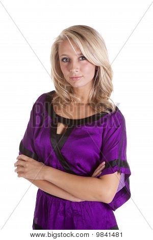 Woman Upper Body Portrait Purple