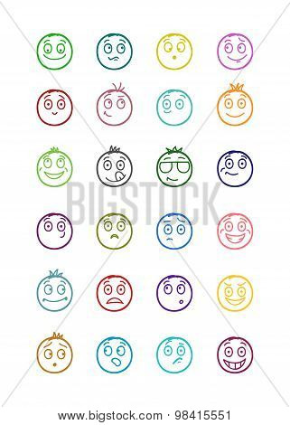 24 Smiles Icons Set 1