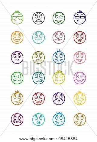 24 Smiles Icons Set 6