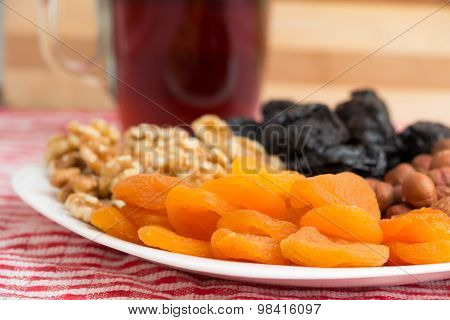 Healthy collection of dried fruits and nuts