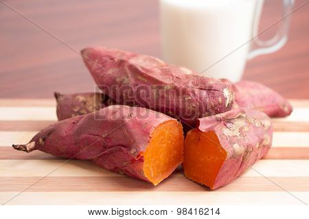 Sweet potatoes with glass of milk