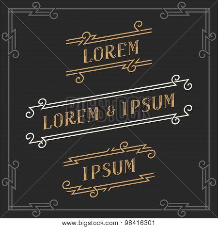 The set of graceful vintage emblems templates.