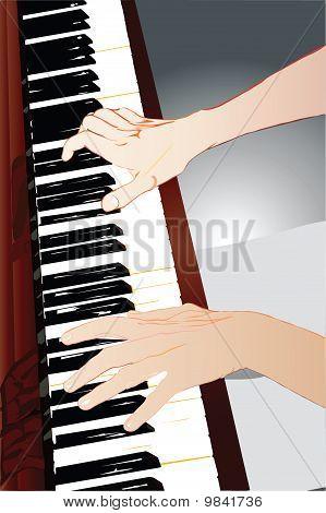mãos de uma pianista
