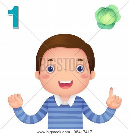 Learn Number And Counting With Kid's Hand Showing The Number One