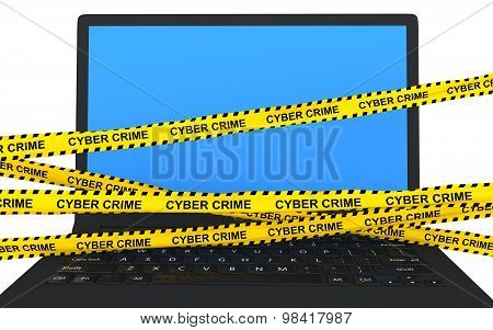 3d laptop and cyber crime ribbons