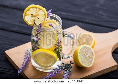 A Glass Infused Water Of Lemon And Lavender