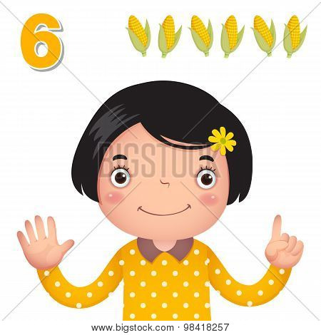 Learn Number And Counting With Kid's Hand Showing The Number Six