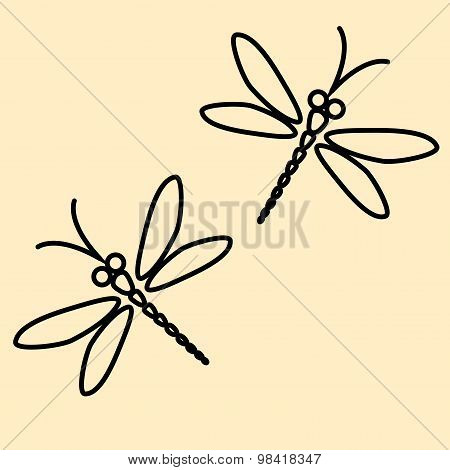 Two Vector Dragonflies Silhouettes On The Creamy Background