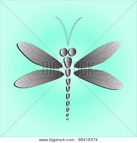 Gray Vector Dragonfly On The Light Blue Background