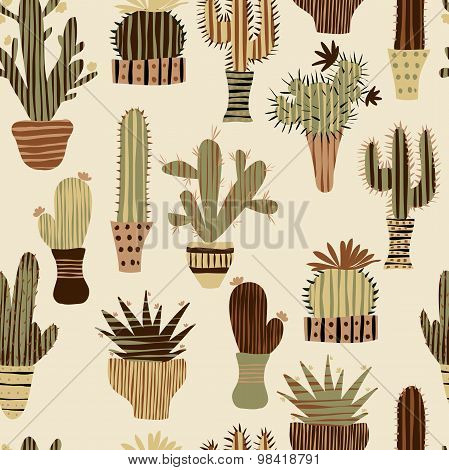 Flat seamless pattern with succulent plants and cactuses in pots. Vector botanical graphic set with
