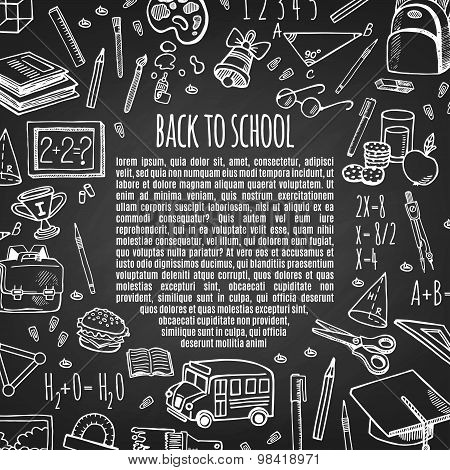 Frame Back To School Tools Sketch Icons On Chalk Board Vector Illustration.