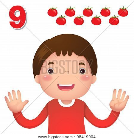 Learn Number And Counting With Kid's Hand Showing The Number Nine