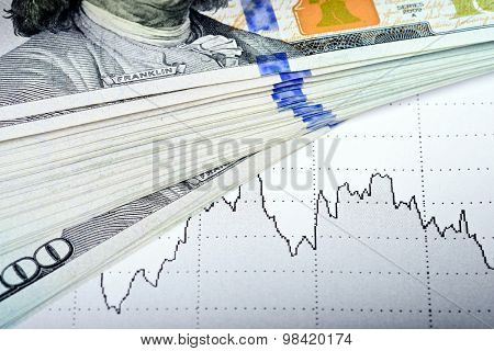 Stock market chart and 100 USA dollars banknote - market concept