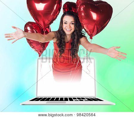 Businesswoman in laptop
