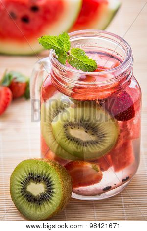 Infused Water Mix Of  Strawberry, Watermelon And Kiwi