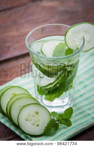A Glass Infused Water Of  Cucumber