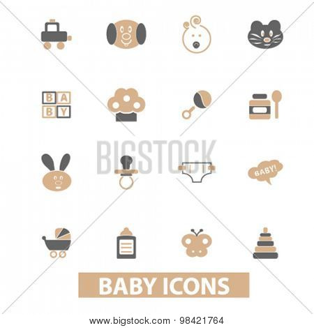 baby, children, toys, kids flat icons, signs, illustration concept, vector
