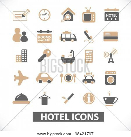 hotel, motel, room services flat icons, signs, illustration concept, vector