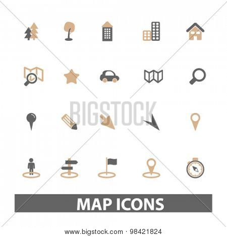 map, route flat icons, signs, illustration concept, vector