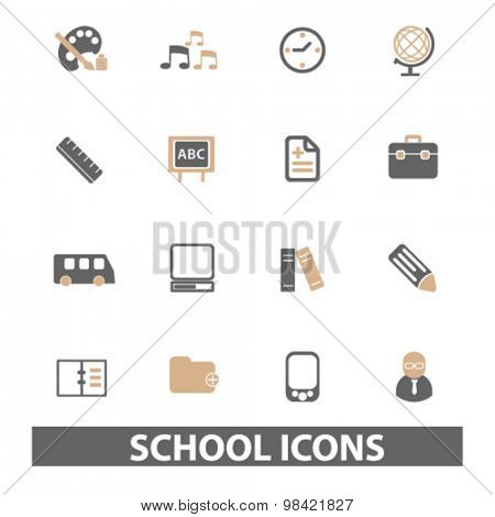 school, learning, lesson flat icons, signs, illustration concept, vector