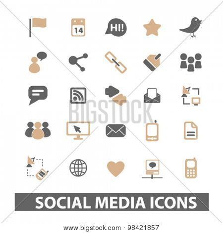 social media, blog, internet icons set, vector