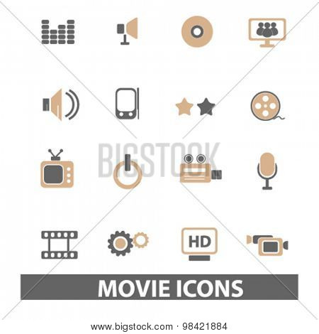 movie, media, cinema flat icons, signs, illustration concept, vector