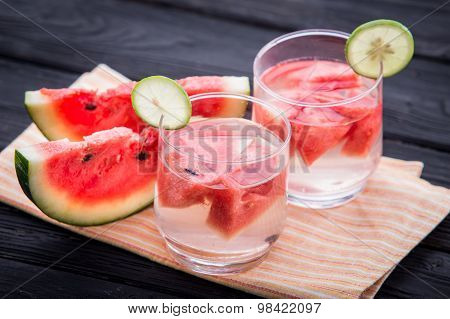 A Glass Infused Water Of Watermelon