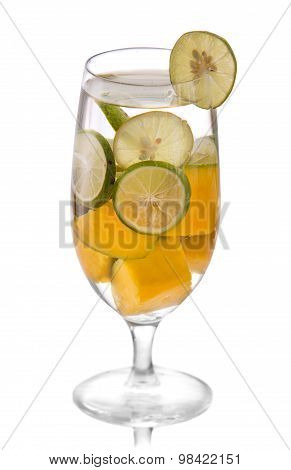 Infused Water Mix Of Lime And Mango, Isolated