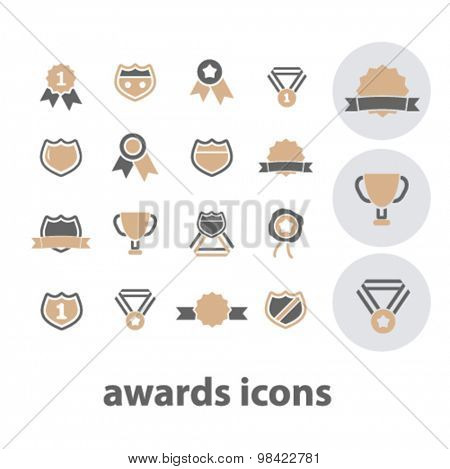 awards, victory, trophy flat icons, signs, illustration concept, vector