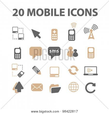 mobile, phone, application, app flat icons, signs, illustration concept, vector