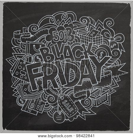 Black Friday sale hand lettering and doodles elements