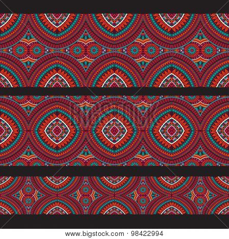 Abstract vector red ornamental ethnic seamless stripes. design e