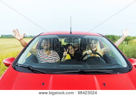 Friends in a car.