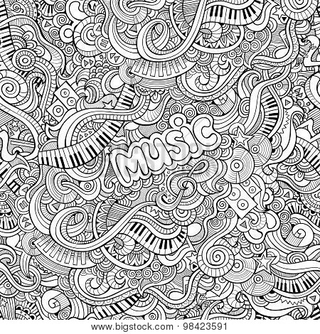 Cartoon vector Doodles music seamless pattern
