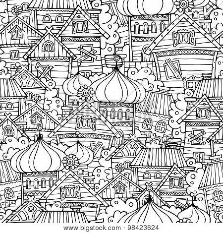 Cartoon fairy tale drawing russian village seamless pattern