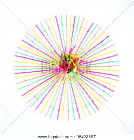 Circle Aligned With Drinking Straws . Isolated Background.